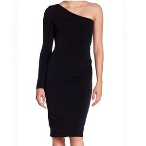 Maggy London One Shoulder Long Sleeve Sheath Dress